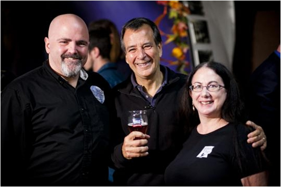 Jim Koch, brewer and founder of Samuel Adams (Middle), Michael Fairbrother, Founder/Meadmaker Moonlight Meadery, winner regional round of Brewing the American Dream 2013 (Left) and runner up Robin Cohen Founder/Owner Doves and Figs (Right).